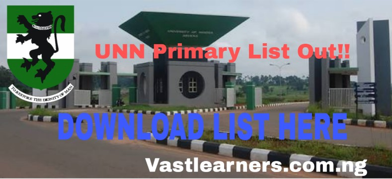 UNN Admission List 2018/2019 (Primary)